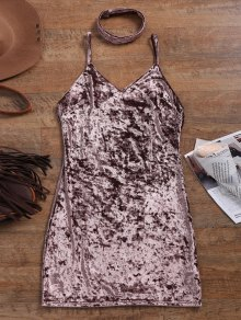 Crushed Velvet Bodycon Slip Dress - Coffee