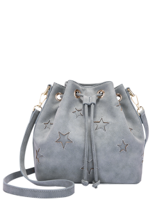 Star Cut Out Drawstring Bucket Bag - Stone Blue