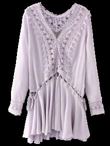 Lace Trim Lace Up Tunic Dress - Purple M
