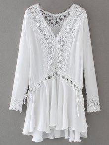Lace Trim Lace Up Tunic Dress