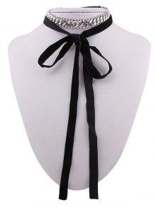 Chain Rhinestone Velvet Choker Necklace - Silver