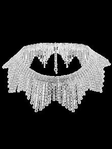 Rhinestoned Alloy Fringed Necklace