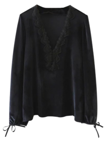 Tie Sleeve V Neck Velvet Top