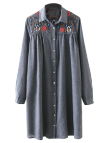Embroidered Yoke Smock Shirt Dress - Gray M