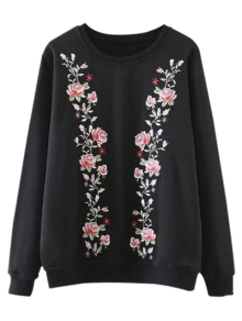 Embroidered Crew Neck Pullover Sweatshirt