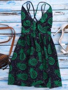 Crosscriss Pineapple Print Beach Dress - Purplish Blue