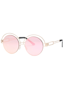 Hollow Out Metallic Round Sunglasses