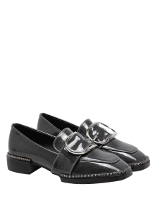 Buckle Strap Square Toe Flat Shoes - Gray