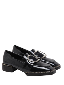 Buckle Strap Square Toe Flat Shoes - Black
