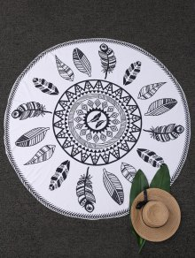 Leaf Print Round Beach Blanket