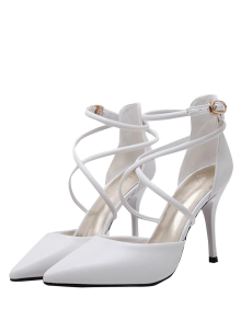 Faux Leather Cross Straps Mini Heel Pumps - White
