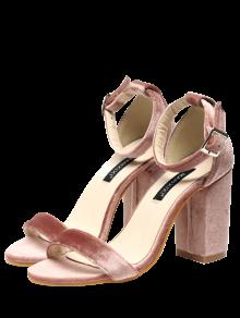 Sandales En Velours à Lanières De Chevilles - Rose Pâle