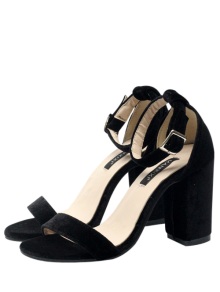 Block Heel Velvet Ankle Strap Sandals - Black
