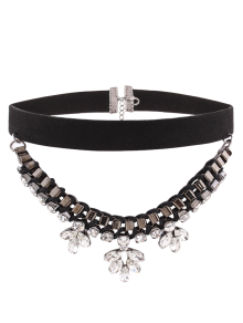 Flower Rhinestone Faux Suede Layered Choker
