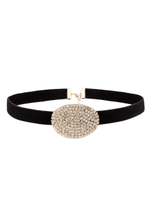 Rhinestone Faux Suede Choker Necklace