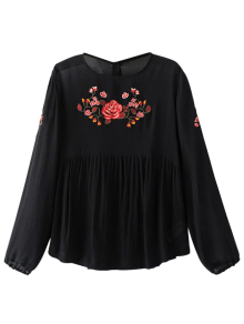 Long Sleeves Embroidered Babydoll Top - Black L
