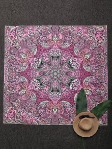 Square Mandala Print Beach Throw - Pink