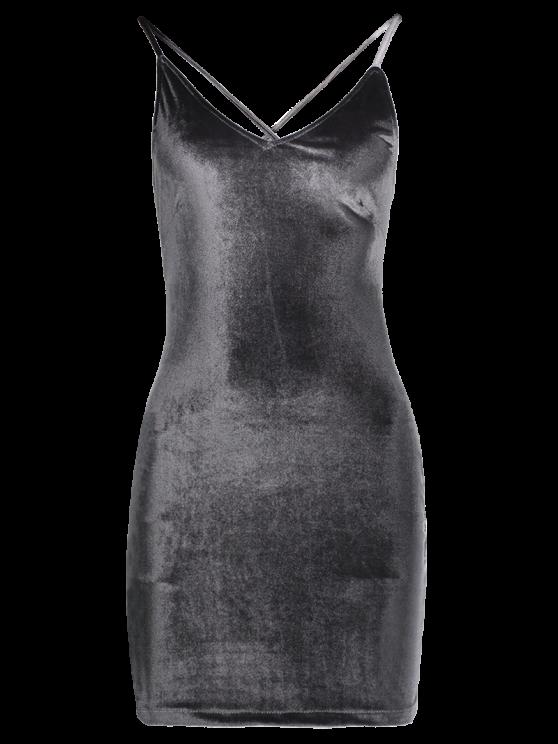 Velvet Cross Back Bodycon Mini Dress - GRAY S Mobile