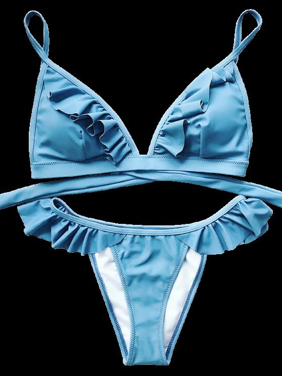 Cami Frilly High Leg Bikini - BLUE S Mobile