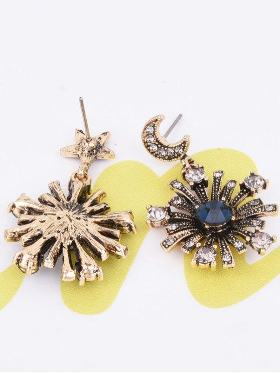 Rhinestone Moon Star Sun Earrings - GOLDEN  Mobile