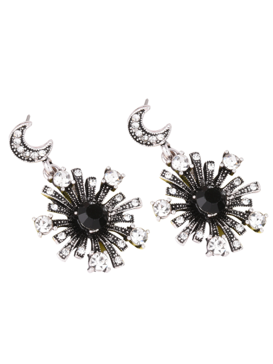 unique Rhinestone Moon Star Sun Earrings - SILVER