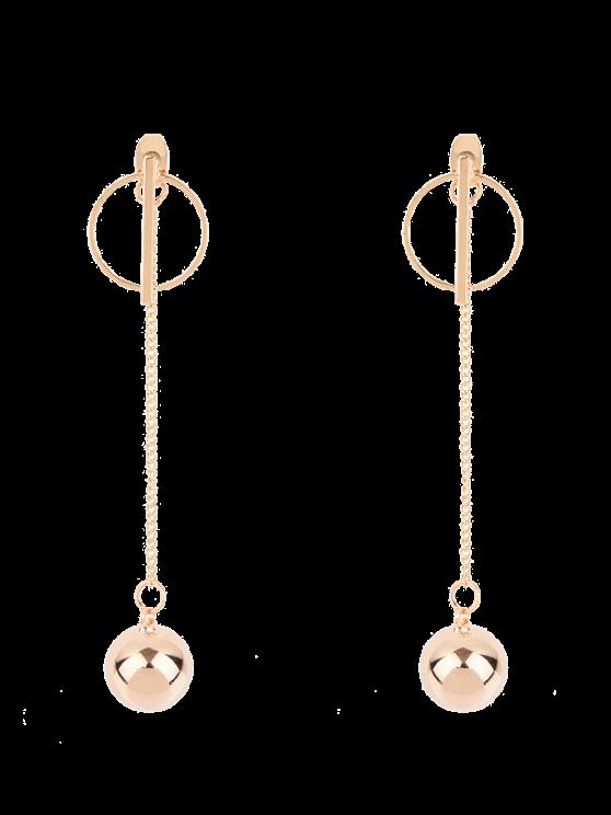 Boucles d'oreilles dorés avec un pendentifde chaînes et de boules - Or