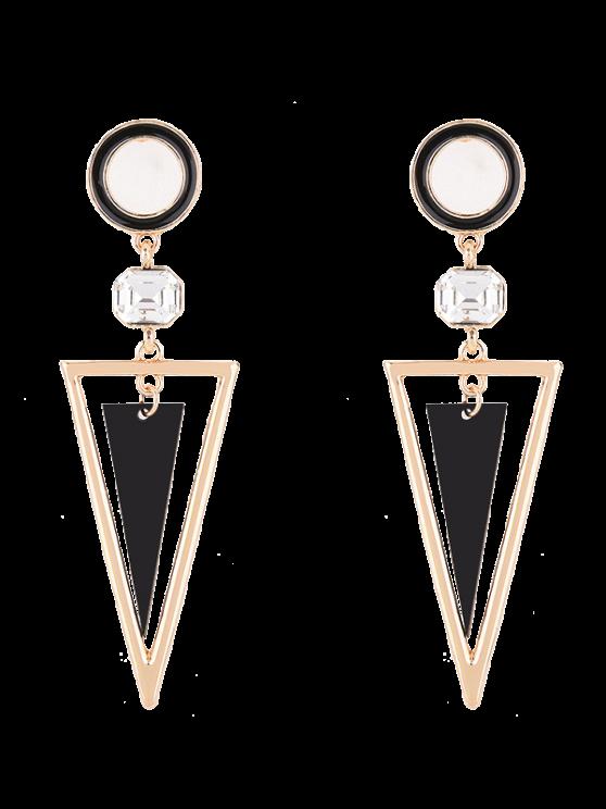 Boucles d'oreilles circulaires à pendants triangulaires de strass - Or