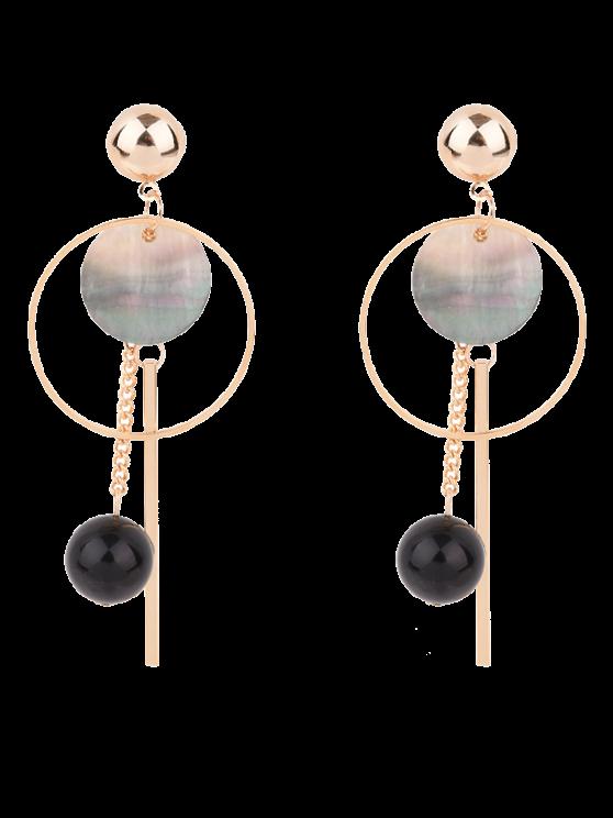 lady Bar Circle Ball Drop Earrings - GOLDEN