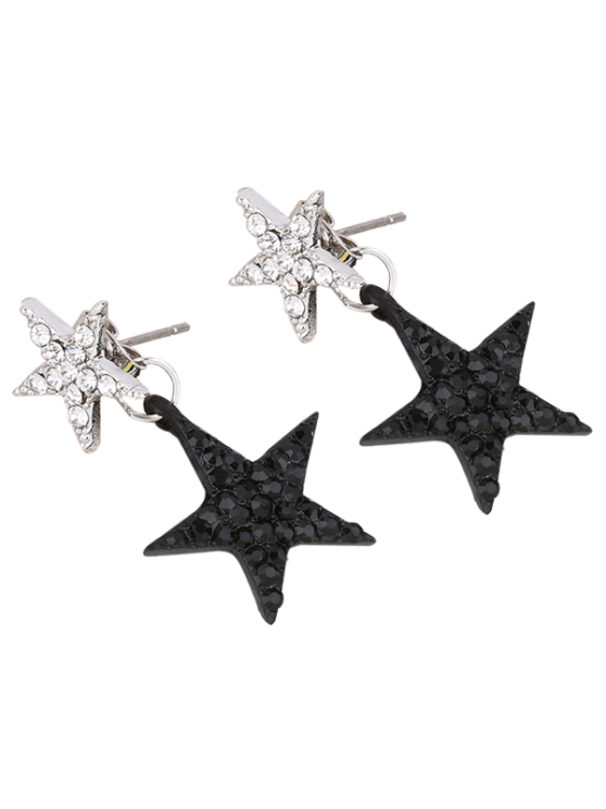 Pendientes Rhinestoned pentagrama - Negro