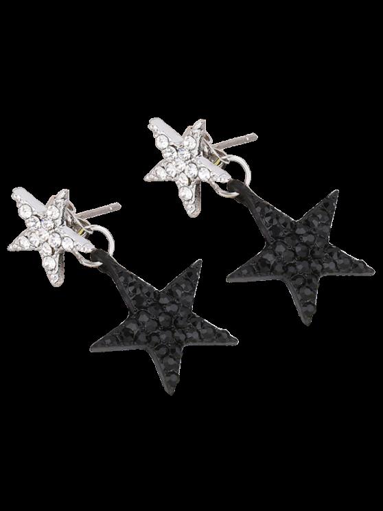 women Pentagram Rhinestoned Earrings - BLACK