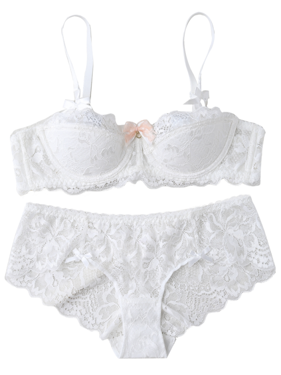 Cami See-Through Bowknot Bra Set - WHITE 85D Mobile