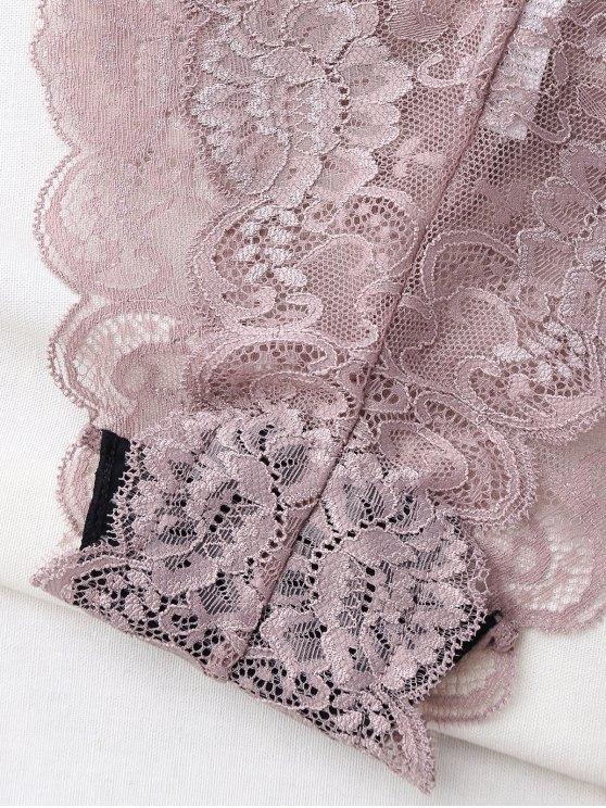 Bowknot Scalloped Lace Bra Set - LIGHT PURPLE 95C Mobile