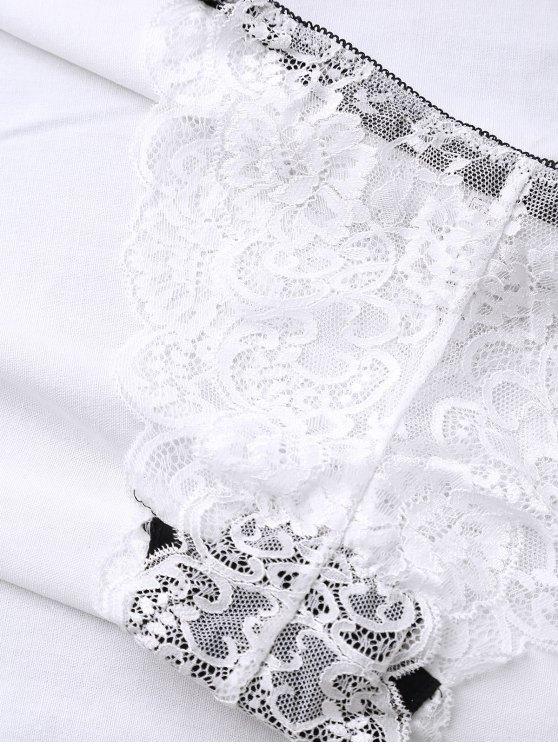 Bowknot Scalloped Lace Bra Set - WHITE 90D Mobile