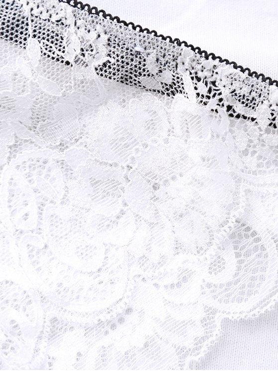 Bowknot Scalloped Lace Bra Set - WHITE 75B Mobile