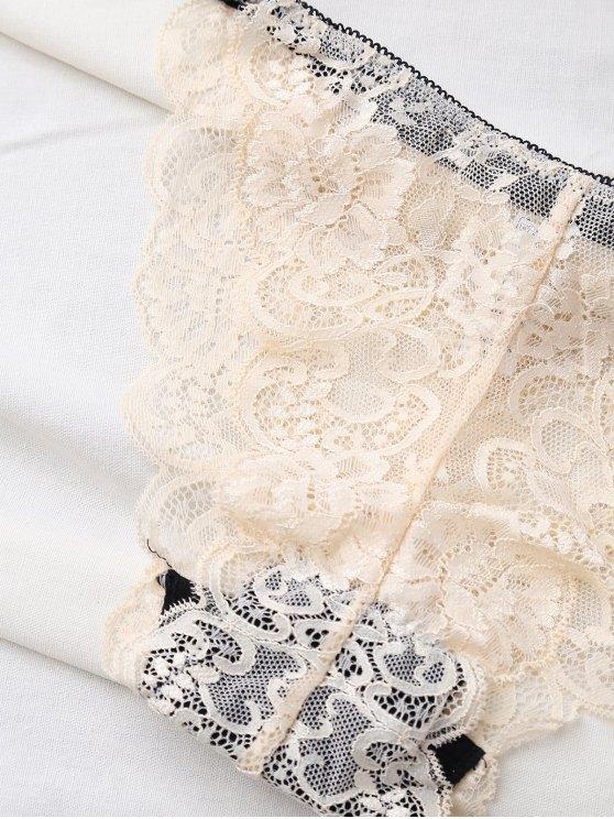 Bowknot Scalloped Lace Bra Set - BEIGE 75A Mobile