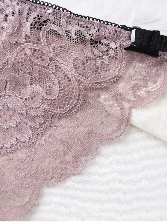 Bowknot Scalloped Lace Bra Set - LIGHT PURPLE 70D Mobile