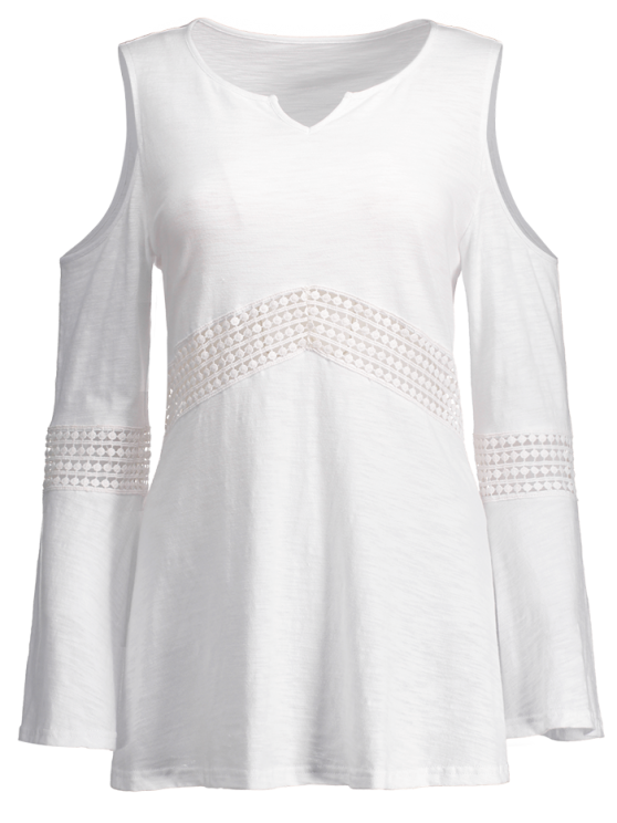 Lace Insert Cold Shoulder Top - WHITE XL Mobile