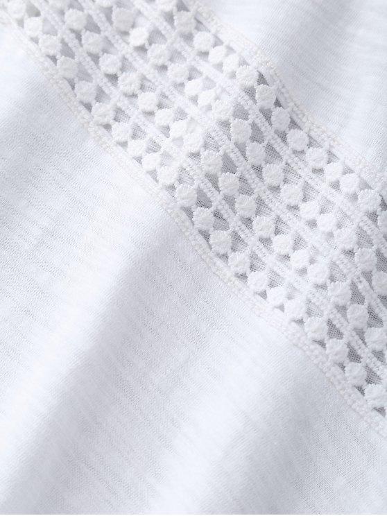 Lace Insert Cold Shoulder Top - WHITE L Mobile