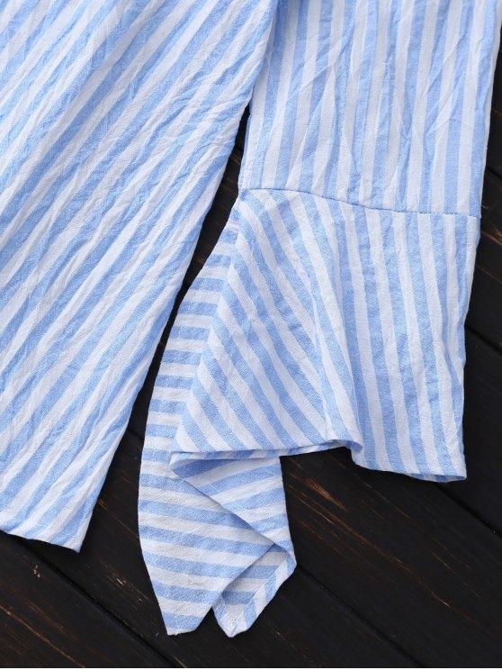 Bell Sleeve Off Shoulder Striped Blouse - SKY BLUE M Mobile