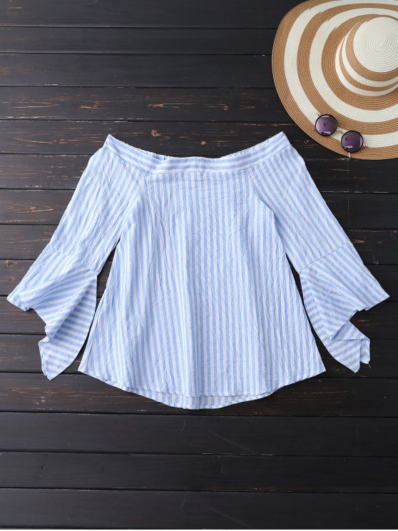 Bell Sleeve Off Shoulder Striped Blouse - SKY BLUE XL Mobile