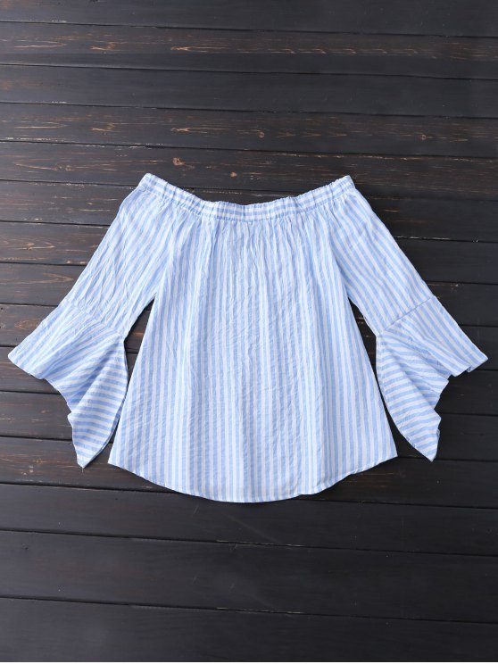 sale Bell Sleeve Off Shoulder Striped Blouse - SKY BLUE XL