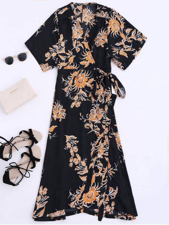affordable Floral Chiffon Wrap Beach Dress - BLACK S