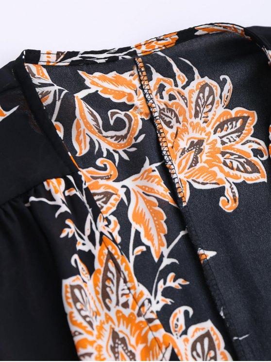 Floral Chiffon Wrap Beach Dress - BLACK M Mobile
