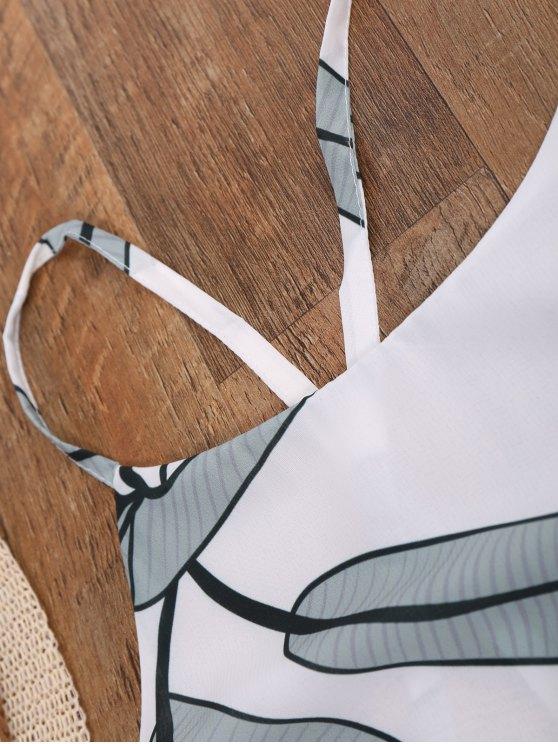 Leaf Print Slip Dress - WHITE L Mobile