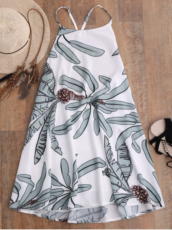 hot Leaf Print Slip Dress - WHITE M
