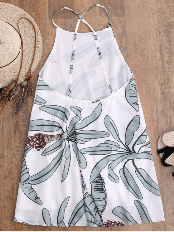 Leaf Print Slip Dress - WHITE S Mobile