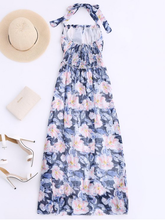 Shirred Halter Floral Maxi Beach Dress - FLORAL S Mobile