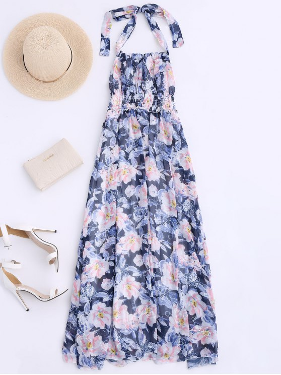 shop Shirred Halter Floral Maxi Beach Dress - FLORAL M