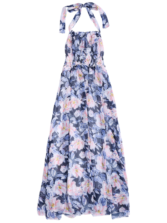 Shirred Halter Floral Maxi Beach Dress - FLORAL L Mobile