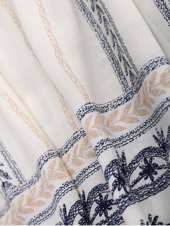 Stripe Print Mini Smock Dress - OFF-WHITE L Mobile